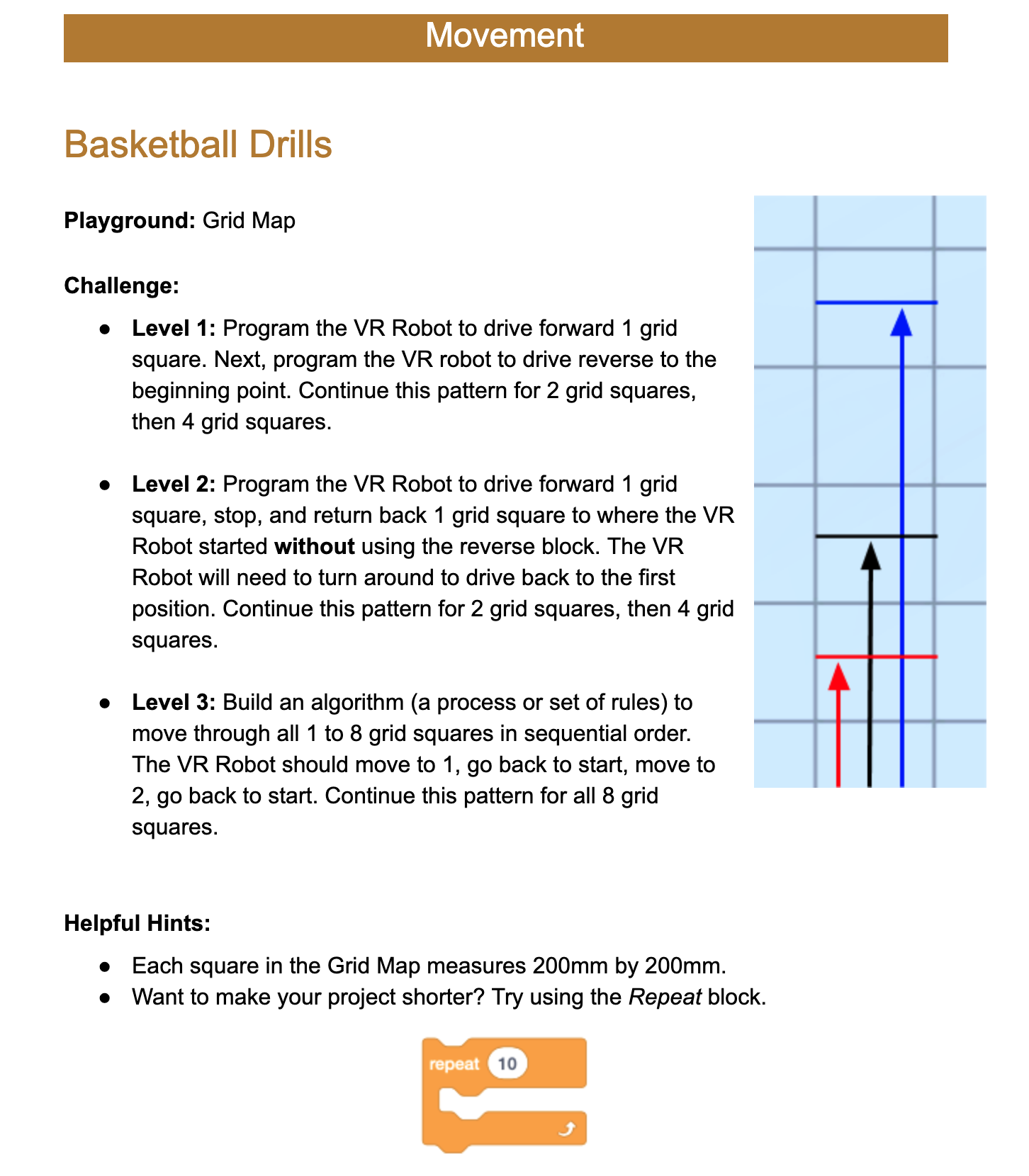 Screenshot of the Basketball Drills Activity