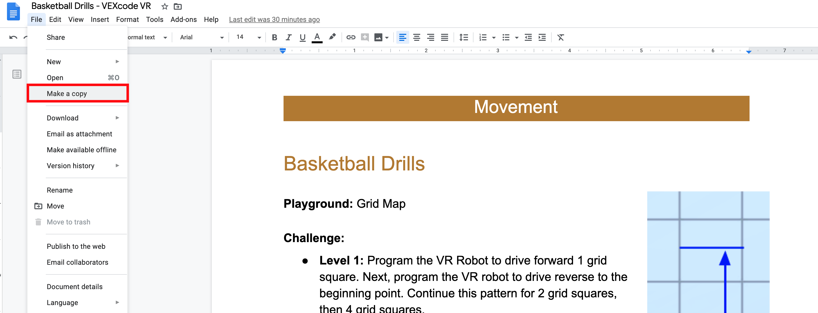 Make a copy of the Basketball Drills Activity