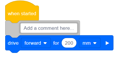 "Type any text, numbers, or symbols into the ""comment"" block."