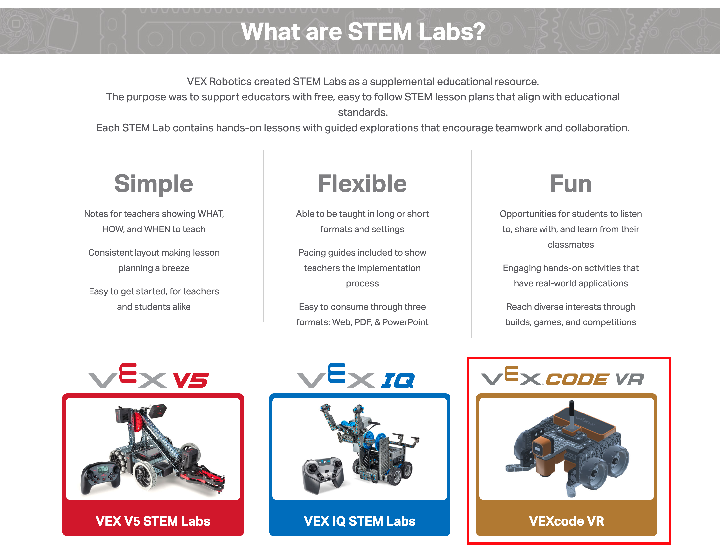 The VEXcode VR button on education.vex.com