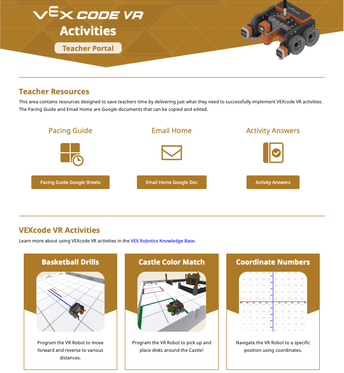 Startpagina VEXcode VR-activiteiten
