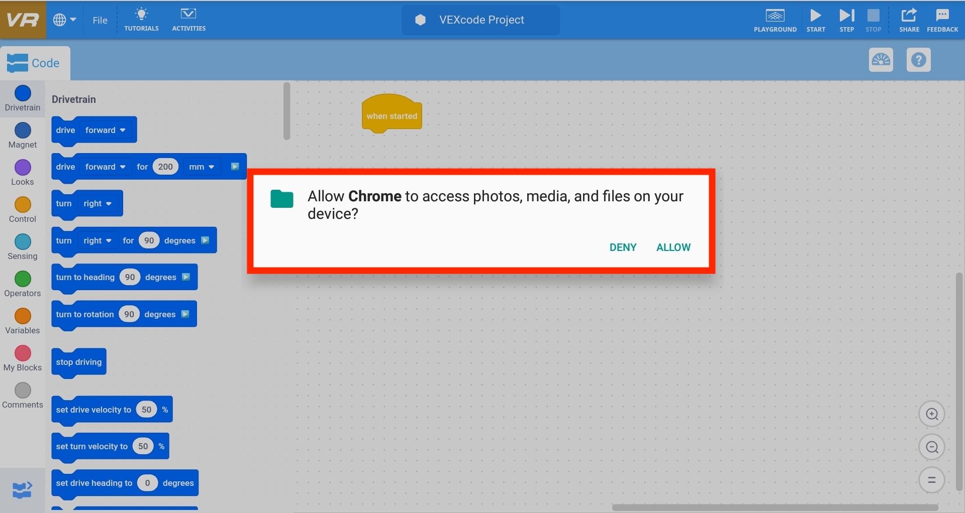 Alerta de Chrome