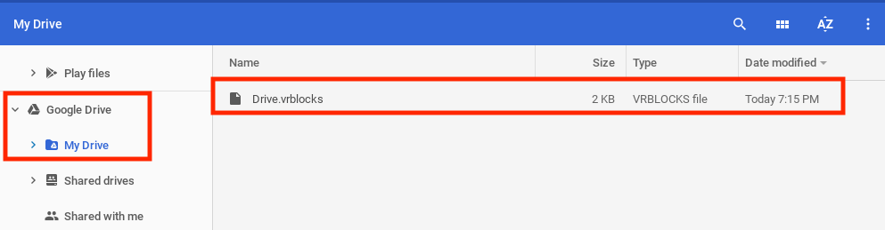 Ventana de Google Drive