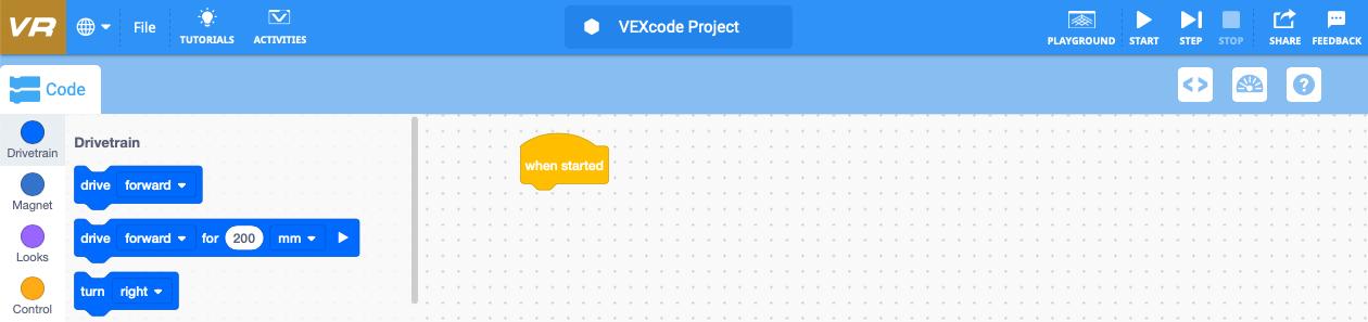 VEXcode VR-venster