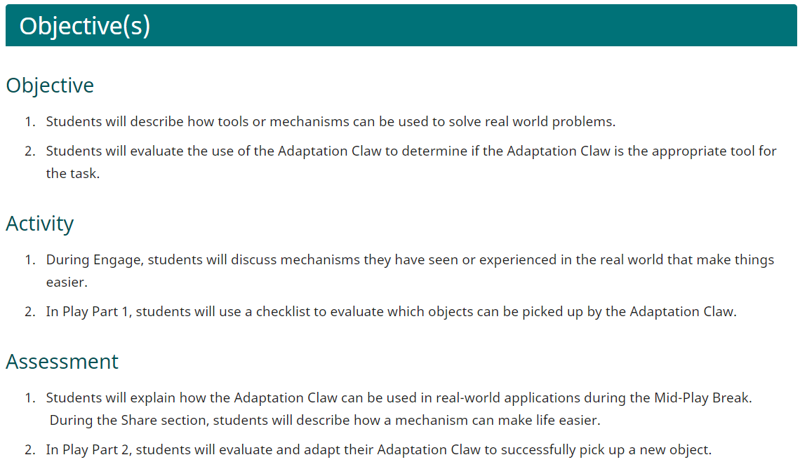 VEX GO Adaptive Claw Lab Learning Objectives